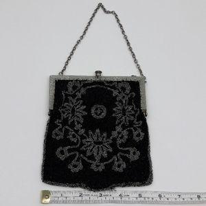 Vintage Bags - Vintage Black and Silver Bead Evening Bag Purse